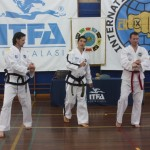 Mr Collins demonstrating with Master Rhee at the ITFA IIC, April 2015