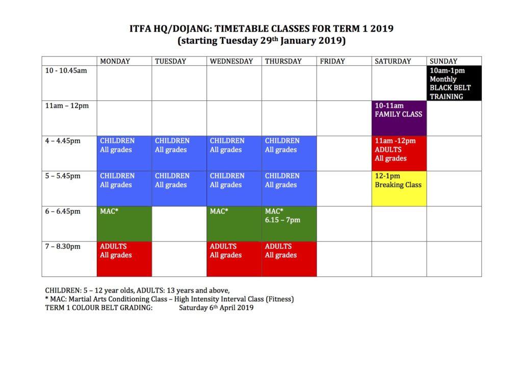 Taekwon-Do Class timetable